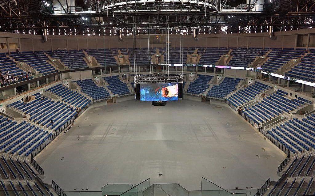 The 200-square-meter LED cube at the center of the Arena (photo credit: Sasson Tiram)