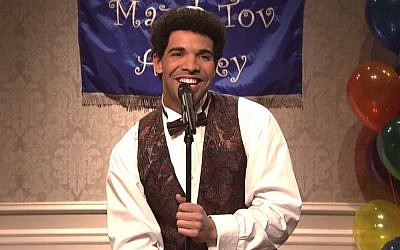 Canadian Jewish rapper Drake remembers his bar mitzva -- 'as if it was yesterday' in this hilarious Saturday Night Live sketch. (YouTube screenshot)