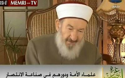 A screen capture of former Jordanian MP Sheikh Abd Al-Muni'm Abu Zant in an interview with al-Aqsa TV on September 7, 2014. (photo credit: YouTube screenshot)