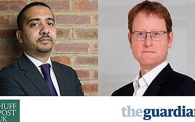 At a September 15, 2014 London debate, editor Mehdi Hasan, left, and journalist Jonathan Freedland highlighted high levels of anti-Semitism and Islamophobia in the UK and suggested there should be common cause in ending it. (courtesy)