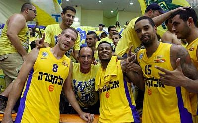 Members of Maccabi Tel Aviv after a recent game (photo credit: Udi Chitayat/Courtesy Maccabi Tel Aviv)