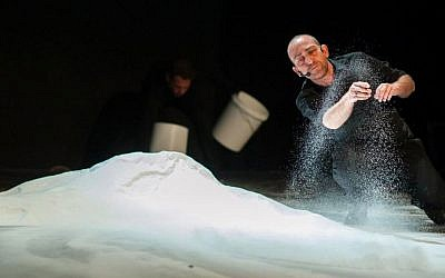 Mounds of salt make up the set of 'Salt of the Earth,' Hazira's media-rich play that will be performed at the Brooklyn Academy of Music this week (photo credit: Yair Meyuhas)