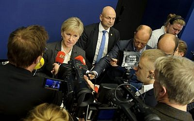 Sweden's Foreign Minister Margot Wallstrom answers journalists' questions on October 30, 2014 at the government building Rosenbad in Stockholm. (photo credit: AFP/TT NEWS AGENCY/ANNIKA AF KLERCKER)