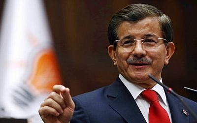 Turkey's Prime Minister Ahmet Davutoglu on October 14, 2014 (Adem Altan/AFP)