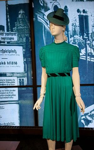 One of Hedy Strnad's designs seen in the exhibit Stitching History from the Holocaust. (Courtesy Jewish Museum Milwaukee/JTA)