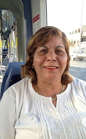 Pisgat Zeev resident Zemira Tahan on the Jerusalem light rail, September 30, 2014 (photo credit: Elhanan Miller/Times of Israel)