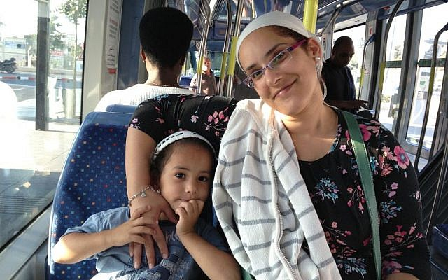 Pisgat Zeev resident Hagit Balas on the light rail, September 30, 2014 (photo credit: Elhanan Miller/Times of Israel)