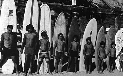 Dorian 'Doc' Paskowitz (left) with eight of his nine children during the family's nomadic years. (Courtesy of Magnolia Pictures)