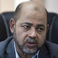 Hamas official Moussa Abu Marzouk, September 18, 2014. (AP/Khalil Hamra)