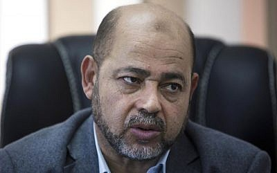 Hamas official Moussa Abu Marzouk, September 18, 2014. (AP/Khalil Hamra)