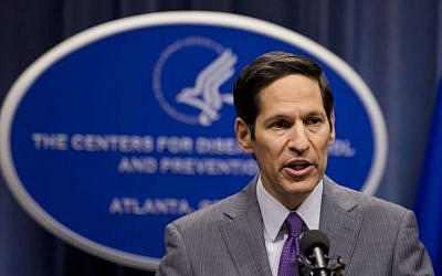 Director of Centers for Disease Control and Prevention Dr. Tom Frieden speaks during a news conference after confirming that a patient at Texas Health Presbyterian Hospital has tested positive for Ebola, the first case of the disease to be diagnosed in the United States, announced Tuesday, September 30, 2014, in Atlanta. (photo credit: AP/John Bazemore)