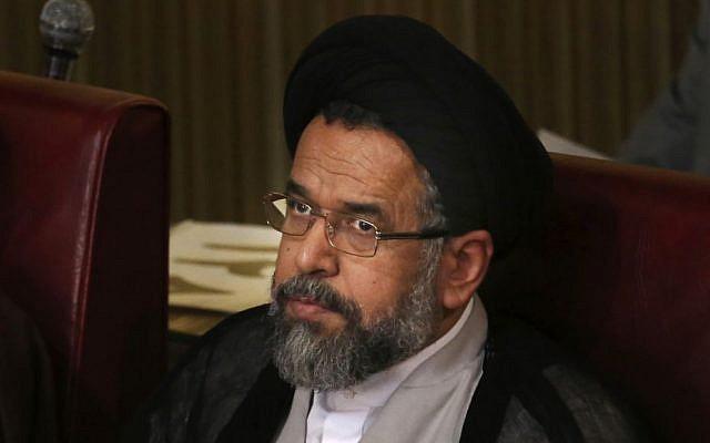 Iranian Intelligence Minister Mahmoud Alavi in Tehran, Iran, Tuesday, March 4, 2014 (photo credit: AP/Vahid Salemi)