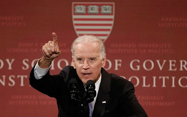 Vice President Joe Biden speaks to students, faculty and staff at Harvard University's Kennedy School of Government in Cambridge, Massachusetts, Thursday, Oct. 2, 2014. (AP Photo/Winslow Townson)