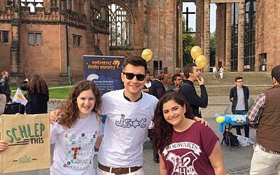 Ella Rose, President of the Union of Jewish Students, left, with members of the Coventry JSoc.  (courtesy UJS)