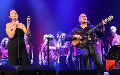 Mira Awad and David Broza at a Lod concert organized by the US Embassy in Israel, October 23, 2014. (photo credit: Matty Stern/US Embassy)