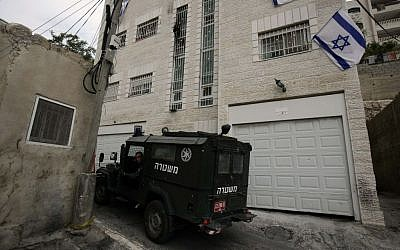 Beit Yehonatan, a building acquired by Ateret Kohanim in the Palestinian neighborhood of Silwan (photo credit: Abir Sultan/Flash 90)