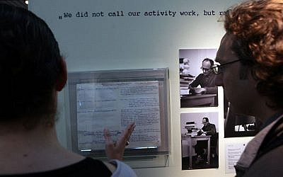 An exhibition in Yad Vashem in 2011 on the 50th anniversary of Adolf Eichmann's trail in Jerusalem. His personal diary and photos from his trial are shown. (photo credit: Yossi Zamir/Flash90)
