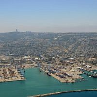 An aerial view of the Haifa Port, northern Israel, June 14, 2014. (Shay Levi/Flash90)