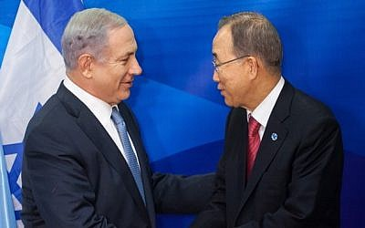 United Nations Secretary-General Ban Ki-moon shakes hands with Prime Minister Benjamin Netanyahu during a joint news conference in Jerusalem on October 13, 2012. (Photo credit: Emil Salman/POOL/Flash90)