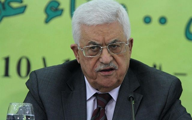Palestinian Authority President Mahmoud Abbas delivers a statement at a conference in the West Bank town of Ramallah on October 18, 2014. (photo credit: Flash90)