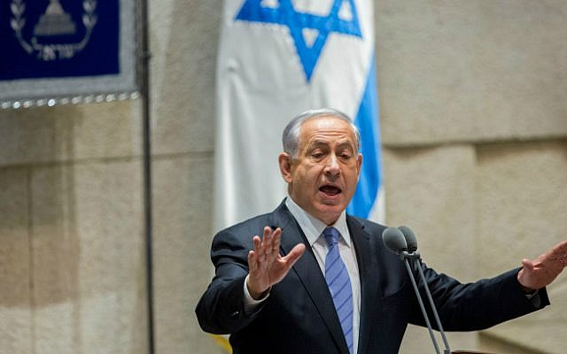 Prime Minister Benjamin Netanyahu addresses the Israeli parliament during the opening of the winter session on October 27, 2014. (photo credit: Yonatan Sindel/Flash90)
