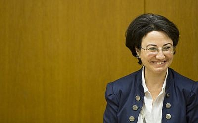 Arab-Israeli parliament member Hanin Zoabi seen during a special press conference of Arab MKs at the Knesset, the Israeli parliament in Jerusalem, October 2014. (photo credit: Yonatan Sindel/Flash90)