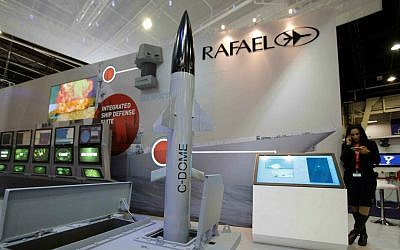 A model of Rafael's C-Dome is presented at the Euronaval show, in Le Bourget, north of Paris, Thursday, Oct. 30, 2014. (AP Photo/Christophe Ena)
