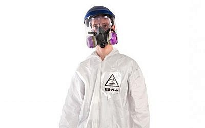 This product image released by Brands On Sale, Inc. shows a hazmat costume with a respirator.  (photo credit: AP Photo/Brands On Sale, Inc.)
