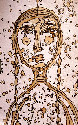 Self Portrait by Sara Erenthal. Coffee and Ink. (Credit: Cathryn J. Prince)