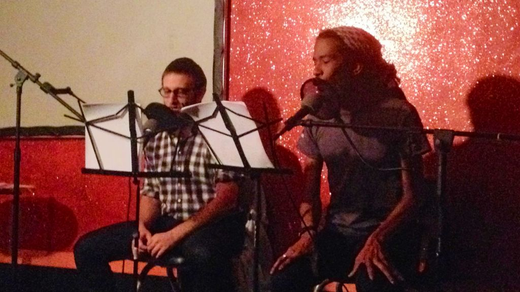 Hip-hop artist Y-Love joins David Tuchman (left) for a live taping of OMGWTFBible. (courtesy)