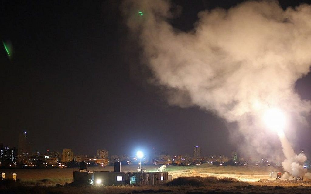 An Iron Dome battery intercepts an incoming rocket during the  summer 2014 war (photo credit: IDF)