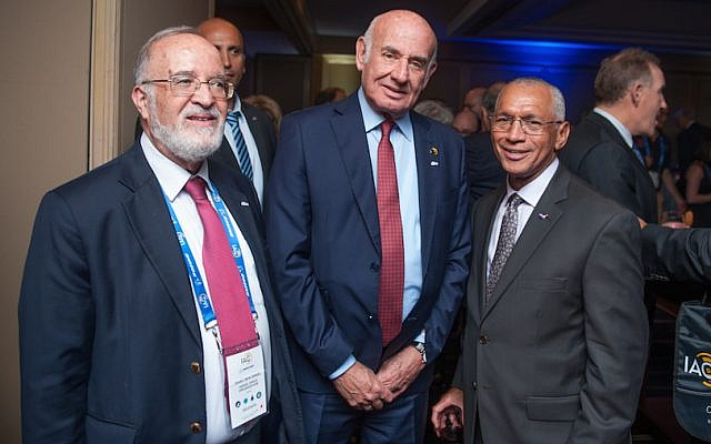 (L to R) Professor Isaac Ben-Israel, head of the Israel Space Agency; Minister of Science Yaakov Peri; NASA Chairman Charles F. Bolden (Photo credit: Ben Kattan)