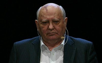 "Mikhail Gorbachev during the German premiere of his book ""All in good time. My Life"" at the Berliner Ensemble, March, 2013 (photo credit: Wikimedia Commons, CC BY-SA 3.0, SpreeTom)"