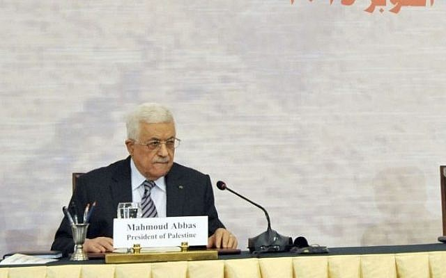 Palestinian Authority President Mahmoud Abbas at a donors conference in Cairo, Egypt, to help rebuild Gaza after the damage caused during Operation Protective Edge, Sunday, October 12, 2014. (photo credit: AP/Ahmed Foad, MENA)
