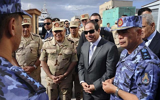 In this photo provided by Egypt's state news agency MENA, Egyptian President Abdel-Fattah el-Sissi attends Naval exercises in Alexandria, Egypt, Tuesday, Oct. 21, 2014. (photo credit: AP Photo/MENA, Fady Fars)