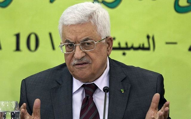 Palestinian Authority President Mahmoud Abbas speaks during a meeting of the Fatah revolutionary council in the West Bank city of Ramallah, Saturday, Oct. 18, 2014. (photo credit: AP Photo/Majdi Mohammed)