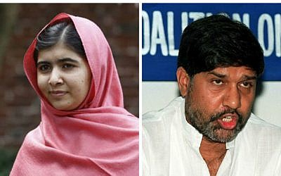 Composite photo of  children's rights activists Malala Yousafzai (L) of Pakistan and Kailash Satyarthi (R) of India, who were awarded the Nobel Peace Prize Friday, October 10, 2014. (photo credit: AP, AFP)
