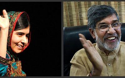 In this photo combo, Malala Yousafzai, left, and Kailash Satyarthi, address the media, on Friday, Oct. 10, 2014. Despite their many differences, 17-year-old Yousafzai and 60-year-old Satyarthi will be forever linked, co-winners of the 2014 Nobel Peace Prize, honored for risking their lives for the rights of children to education and to lives free of abuse. (photo credit: AP Photo/Rui Vieira, Bernat Armangue)