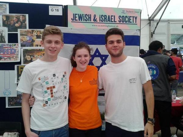 UK's Union of Jewish Students president Ella Rose (center) at Nottingham. 'On Israel, we are unified but not uniform,' she says. (courtesy UJS)
