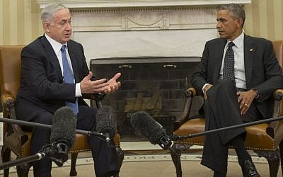 President Barack Obama meets with Israeli Prime Minister Benjamin Netanyahu in the Oval Office of the White House in Washington, Wednesday, Oct. 1, 2014.  (photo credit: AP Photo/Pablo Martinez Monsivais)