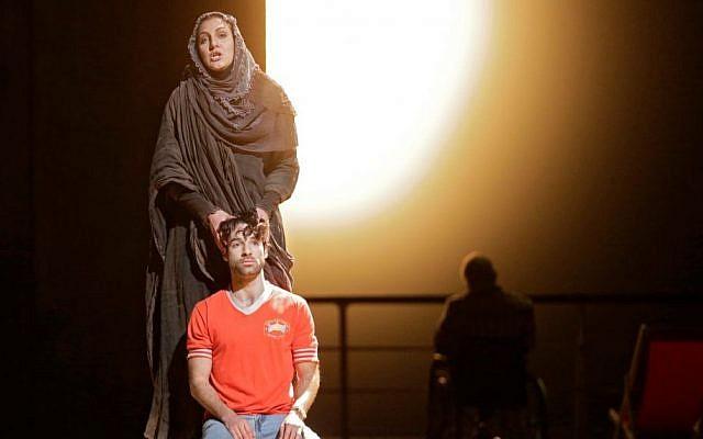 In this image released by the Metropolitan Opera, Maya Lahyani as the Palestinian Woman, standing, and Jesse Kovarsky as Omar, perform in 'The Death of Klinghoffer,' at the Metropolitan Opera in New York. (photo credit: AP/Metropolitan Opera, Ken Howard)