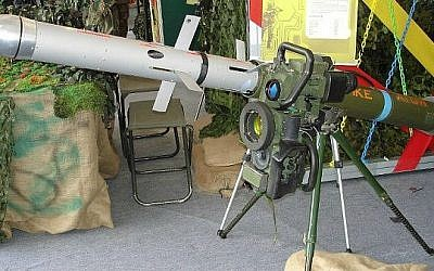 Illustrative photo of a Spike anti-tank missile (photo credit: Wikimedia Commons, CC BY 3.0, Dave1185)