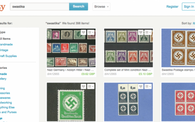 Stamps from Nazi Germany for sale on Etsy website (screen capture: Etsy.com)