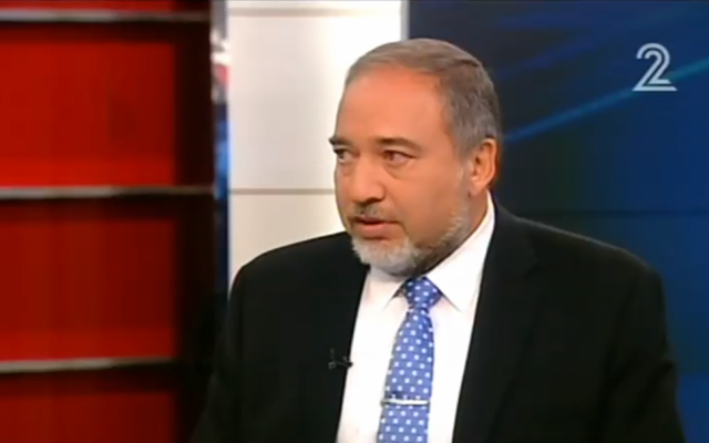 Foreign Minister Avigdor Liberman speaks to Channel 2 on Saturday, October 18. (screen capture: Channel 2)