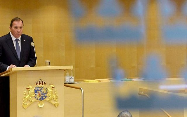 Sweden's new Prime Minister Stefan Lofven announces his new government in the Swedish Parliament in Stockholm Friday, Oct. 3, 2014. (photo credit: AP Photo/Jonas Ekstromer, TT News Agency)