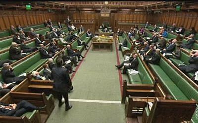 Illustrative: The British Parliament voting whether to recognize a Palestinian state in 2014. (screen capture)