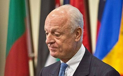 UN Syria envoy Staffan de Mistura listens during a press conference after his meeting with the UN Security Council, Thursday, Oct. 30, 2014 at UN headquarters. (AP Photo/Bebeto Matthews)