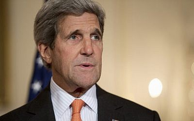 In this October 2, 2014, photo, Secretary of State John Kerry speaks to media at the State Department in Washington. (Photo credit: AP/Carolyn Kaster)