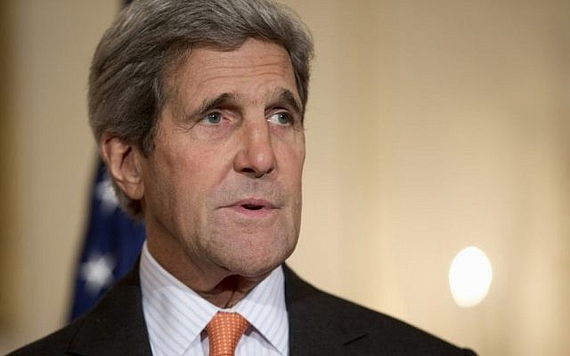 In this Oct. 2, 2014, photo, Secretary of State John Kerry speaks to media at the State Department in Washington. (Photo credit: AP/Carolyn Kaster)
