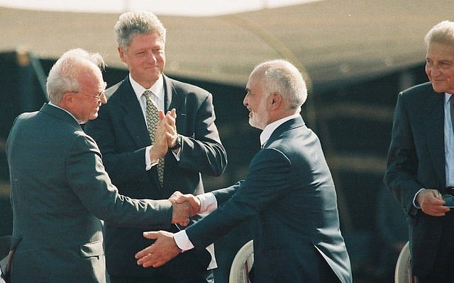 File photo of US President Bill Clinton, Israeli Prime Minister Yitzhak Rabin, King Hussein of Jordan and Israeli President Ezer Weizman at the peace treaty signing ceremony in the Arava Desert, October 1994. (Photo: Flash90 / Yossi Zamir)